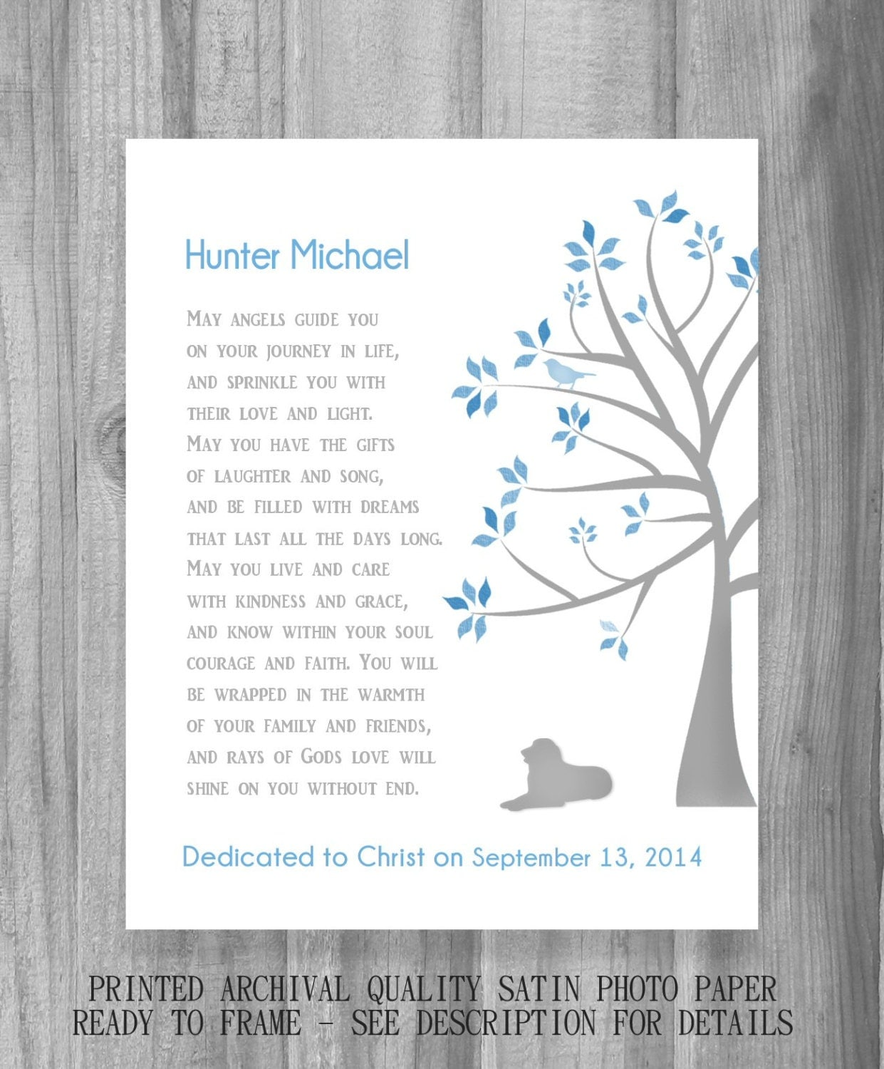 Baby Dedication Gift Christening Baptism Personalized Wall Art