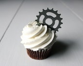 6 Bicycle Gear Cupcake Toppers (Acrylic)