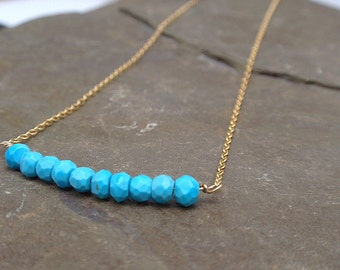 Gold turquoise necklace, blue gemstone necklace handmade in the UK