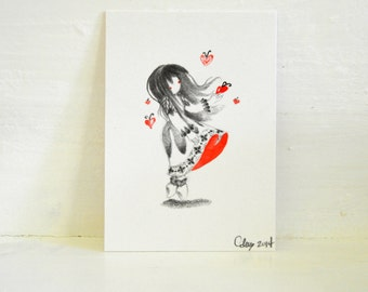 Original ATC ACEO OOAK Custom Waldorf  Love Small Art Girl Red Heart Butterfly Illustration Drawing Graphite Watercolor
