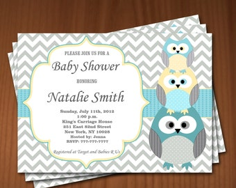 Owl Baby Shower Invitation Boy Baby Shower invitations Printable Baby Shower Invites -FREE Thank You Card - editable pdf Download (540) blue