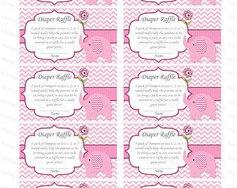 Elephant Baby Shower invitation Diaper Raffle insert Baby Shower Games diaper raffle ticket (c2p)