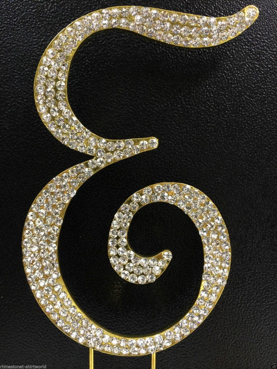gold plated rhinestone crystal monogram letter e wedding