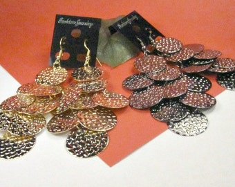 20 % discount/ long Earrings multi-circle hamered  ,  gold/cheap/affordable/