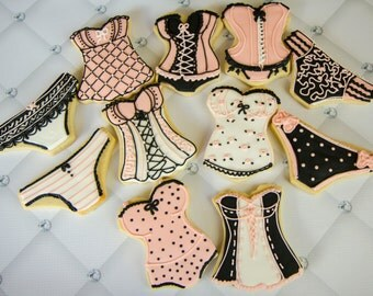 One dozen pink and black lingerie cookies