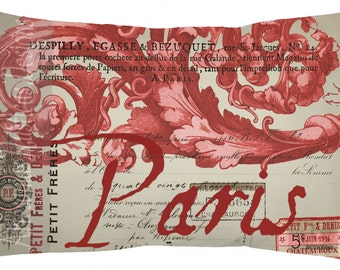 French Pillow 100% Cotton Canvas and Burlap Red French Script and Ornament Paris Throw Lumbar Pillow Cover