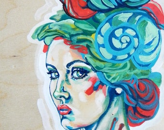 Snail Hairpiece, PRINT, Mixed Media Painting