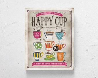 Retro Kitchen Art Coffee Art Coffee Print Coffee Shop Decor Retro