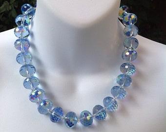 Light purple crystal necklace. AB purple crystal necklace. Large 16mm light purple Cyrstal necklace.