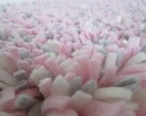 """Pink Shag Rug-Fleece--Girl Nursery Rug--Baby Girl Rug--Pink, Gray, Cream Shaggy Latch Hook Rug--Photo Prop; Crib Rug--15"""" x 25"""" Washable Rug"""
