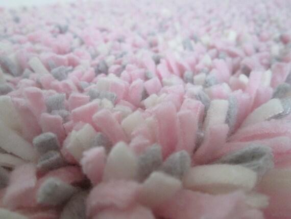Pink Shag Rug Fleece  Girl Nursery Rug  Baby Girl Rug