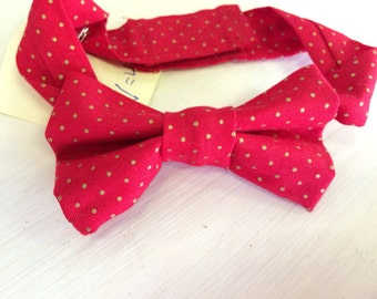 Red with gold dots- bow tie for newborn to 10yrs