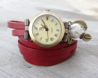 Watch,Women Watches,Wrap Watch, Bracelet Watch Wrist Watch, Vintage Watch with Dandelion Bracelet: red
