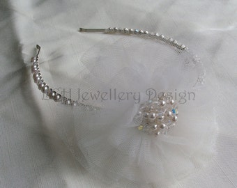 Bridal Headdress - Handmade Tulle, Swarovski Crystal & Pearl Side Detail Headband Tiara