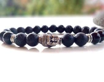 Buddha bracelet, Lava bracelet, Lava Onyx Buddha bracelet, Yoga bracelet, Lava Rock bracelet, Meditation bracelet, Gemstone bracelet