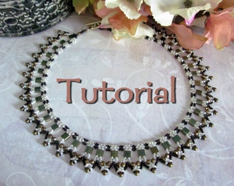 Tutorial for beadwoven tila bead 'Amarna' Collar necklace - PDF beading pattern - DIY