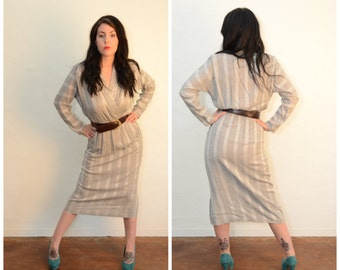Vintage Gray Striped Secretary Dress
