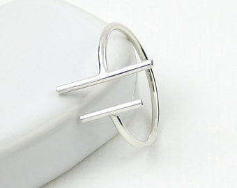 Two Bars Open Ring, Parallel Bar Ring, Skinny Ring, Sterling Silver Bar Ring, Sterling Silver Ring, Slim Ring, Modern Minimalist Ring