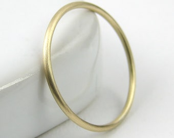 Brushed Thin Gold Ring, Thin Wedding Band, Skinny Gold Stacking Ring, Thin 9K Gold Ring, Solid Gold Dainty Ring, Satin Ring, Knuckle Ring