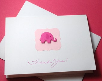 Elephant Baby Shower Thank You Note Card Set, 3d Pink Handmade Elephant Thank You Cards, Baby Shower Thank You Cards