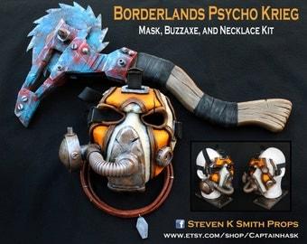 Borderlands Custom Psycho Bandit Krieg Cosplay Mask Buzzaxe and Necklace