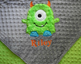 Personalized Baby Blanket 30x36, Monster Baby Blanket, Custom Blanket, Minky Baby Blanket, Made to Order