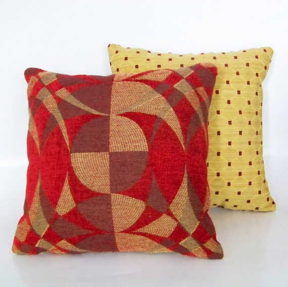 Red And Yellow Decorative Pillows : 2 Red and Yellow Accent Pillows