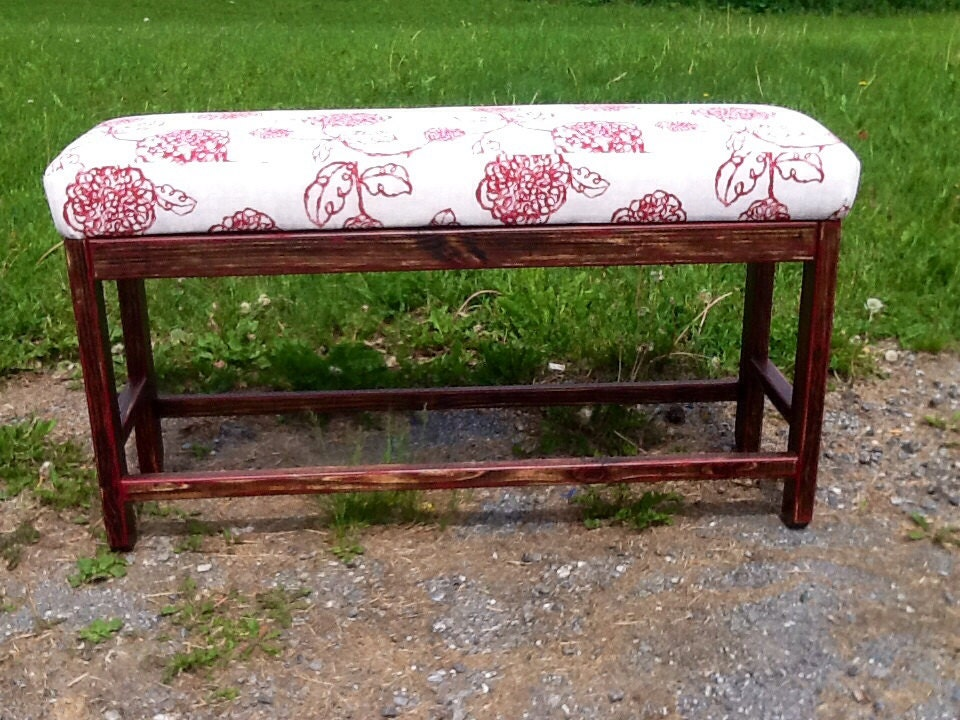 Counter Height Upholstered Bench : Upholstered Farmhouse Parson Bench by SameAsNever on Etsy