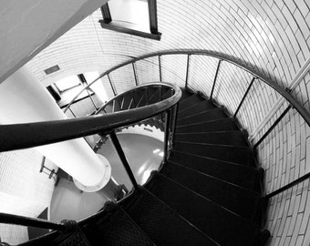 Lighthouse stairs photo print, black and white art photography, spiral picture, wall decor, large canvas 8x10 11x14 12x12 16x20 20x30 30x45
