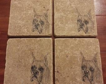 Natural Tumbled Marble Stone Boxer Dog Coasters