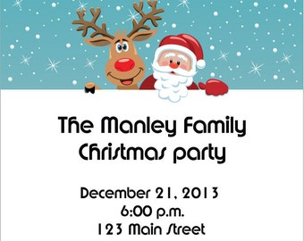 Reindeer Santa Christmas Party Invitations - Adorable Holiday Christmas Invitation