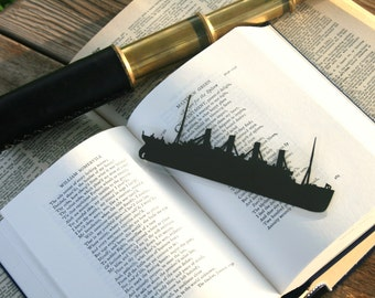 Titanic Bookmark - Hand-cut Silhouette, Ship Bookmark, Nautical Bookmark
