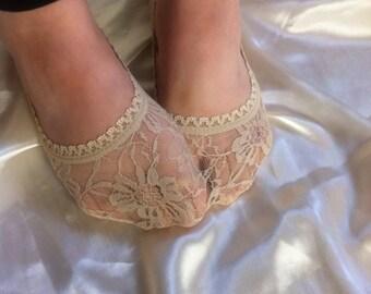 BEIGE LACE SOCKS, Lined in Lace Socks in Beige / beige  lace sock , foot liner,Lace Peep Socks,