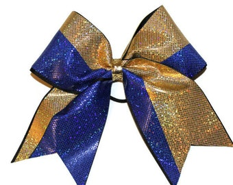 Cheer bow  Royal blue and gold