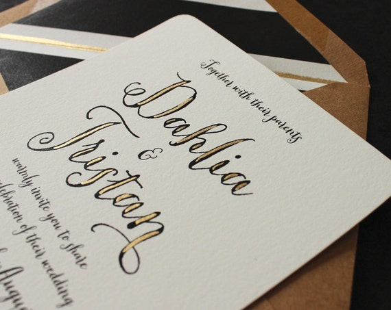 Items Similar To Gold Calligraphy Wedding Invitation On Etsy