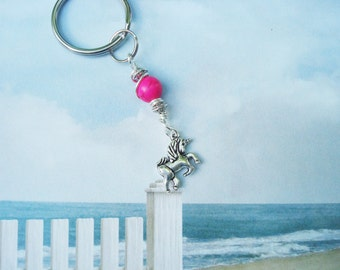 UNICORN KEYCHAIN - Neon hot pink howlite natural stone bead and 3D unicorn charm keychain or purse charm - unicorn beaded keyring