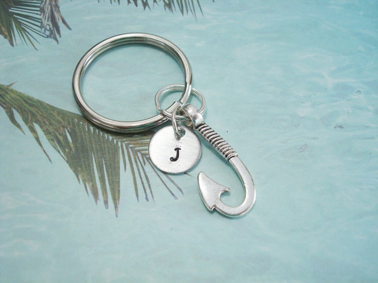 Fish hook keychain shown with optional by alwaysprettythings for Fish hook keychain