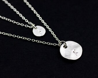 Double Layered Necklace. initial disc silver necklace. two personalized discs necklace. mother, sister, friendship, couple necklace.