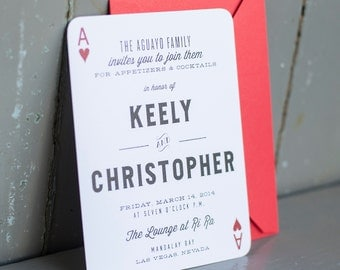 Rustic Rehearsal Dinner Invitation - The Ace of Hearts - Playing Card, Couples Shower, rehearsal dinner, aces, cards, playing cards, invites