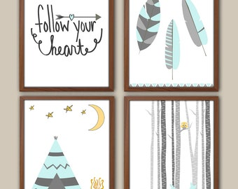 Tribal Nursery Art For Girl - Camping - Adventure - Tepee - Feathers - Nursery Quote - Deer Fawn - set of four - Prints For Girls
