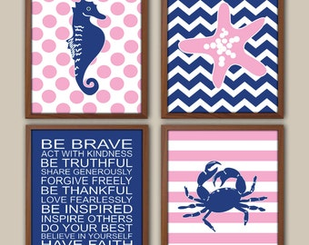 Baby Girl Nursery - Nautical Nursery Art For Girls - Playroom Rules Quote - Nautical Stripes - Art For Girl - Set Of 4 Prints