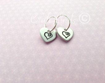 Hoop Hand Stamped Heart Earrings, little hearts, sterling hoops, can personalised