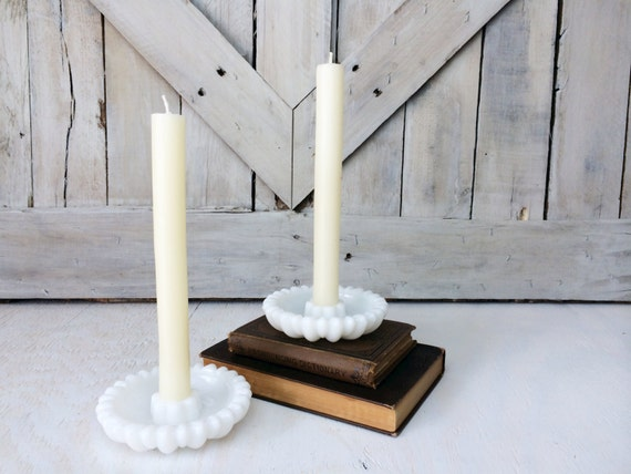 Vintage White Milk Glass Candle Holder Set of 2 -Antique French Country Shabby Chic Farmhouse