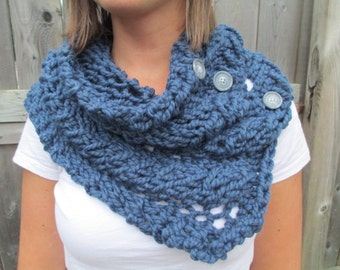 Denim Blue Chunky Cowl Scarf with Buttons