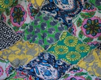 Full Size Rag Quilt, Handmade, Designer, Amy Butler, Lark, black, yellow, green, pink, modern, fresh