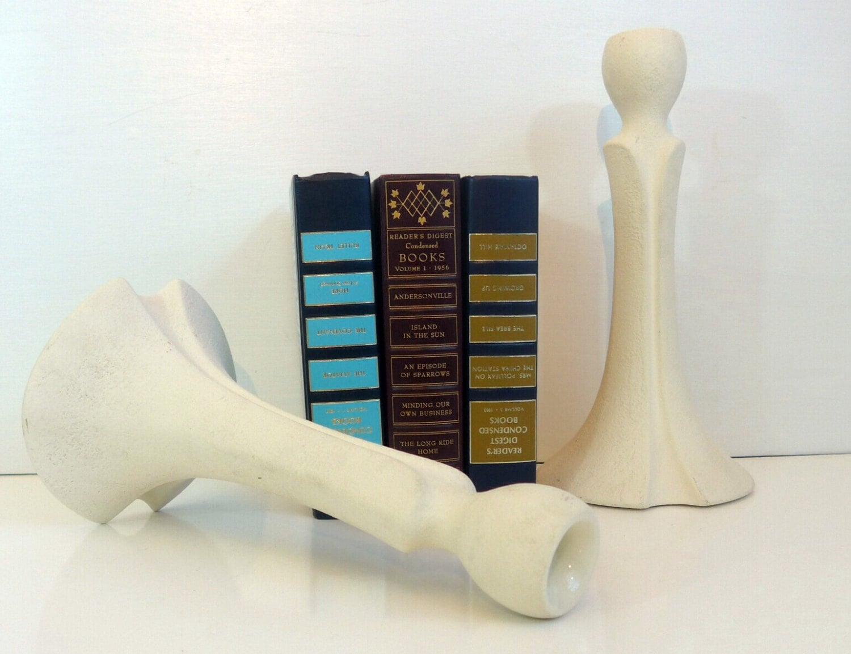 Vintage Tall Royal Haeger Candlesticks Pair Ivory Haeger