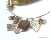 Bangle Bracelet GUITAR STRING & Gemstone Jasper, Bird, Leaf Charms Eco-design Jewelry Jewellery Large Size