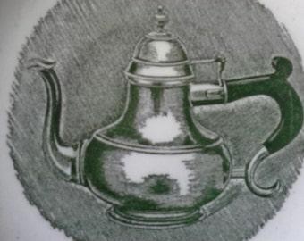 Vintage Green Transfer ware Teapot/Coffee Pot Design Old Hinge and Old Drawer pulls Saucer