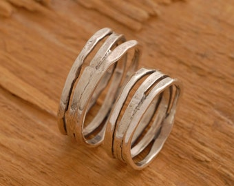 Sterling Silver Wedding Bands, Oxidized Silver Wedding Ring Set, His and Hers Wedding Bands, BE38