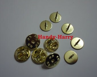 10/25/50  Blank Gold Tie Tacks Lapel Pin Findings Clutch Pin 10 MM Glue Pad DIY Crafts Projects Jewelry Findings